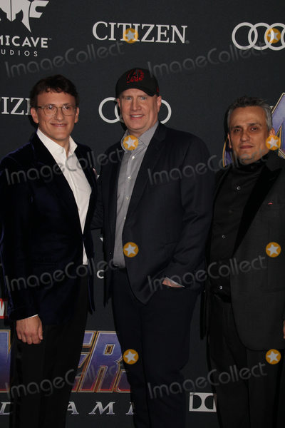 """Anthony Russo, Joe Russo, Kevin Feige Photo - Anthony Russo, Kevin Feige, Joe Russo 04/22/2019 The world premiere of Marvel StudiosAvengers: Endgame"""" held at The Los Angeles Convention Center in Los Angeles, CA Photo by Izumi Hasegawa / HollywoodNewsWire.co"""