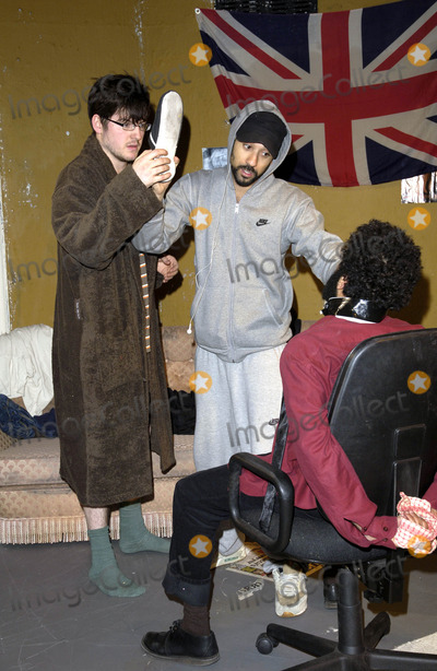 "James Alexandreou, James Alexandrou, Ray Panthaki, Adeel Akhtar Photo - London, UK. James Alexandrou, Ray Panthaki and Adeel Akhtar star in the Yaller Skunk Theatre production ""In My Name"" at the Old Red Lion Theatre in Islington, London.