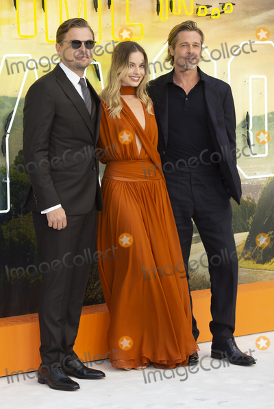 Brad Pitt, Margot Robbie, Gary Mitchell Photo - London, England. Leonardo DiCaprio, Margot Robbie and Brad Pitt at  the UK Premiere of Once Upon a Time in Hollywood, Odeon Luxe Leicester Square, London, England. 30th July 2019.