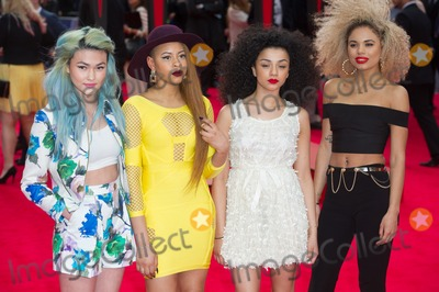 Neon Jungle, Spider Man, Spider-Man, Spiderman, Asami Zdrenka, Jessica Plummer, Leicester Square Photo - London. UK. Neon Jungle (Shereen Cutkelvin, Asami Zdrenka, Jessica Plummer and Amira McCarthy) at  the World Premiere of The Amazing  Spider-Man 2 at The Odeon Cinema, Leicester Square, London, England, UK on 10th April 2014.