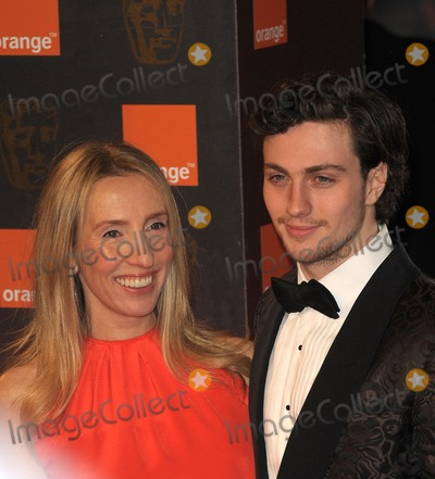 Aaron Johnson, Sam Taylor-Wood, Sam Taylor, Sam Wood, Covent Garden Photo - London, UK.  Sam Taylor-Wood and husband Aaron Johnson at the Orange British Academy Film Awards held at the Royal Opera House in Covent Garden. 13 February 2011.
