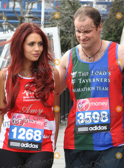 Amy Childs, Andrew Strauss Photo - London. UK.  Amy Childs and Andrew Strauss  at the London Marathon 2013 Celebrities Photocall outside the Tower Hotel, London. 17th April  2013Keith Mayhew/Landmark Media