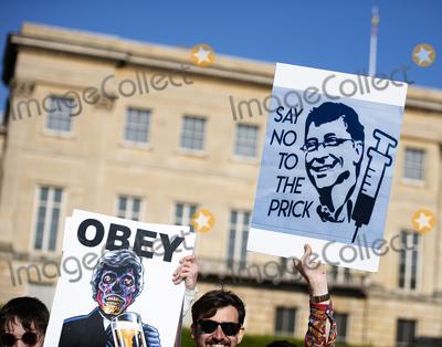Photo - London, UK.  Unite For Freedom Protest Against Vaccine Passports. This was an anti-mask, anti-Vaccine march in London. 24th April 2021. Ref:LMK405-S260421LSAN-001Loredana Sangiuliano/Landmark MediaWWW.LMKMEDIA.COM.