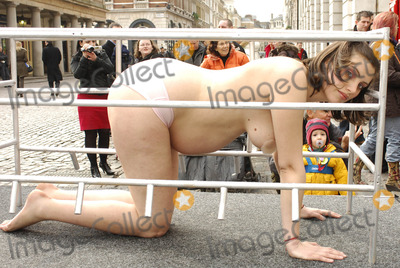 Protester topless peta protest can