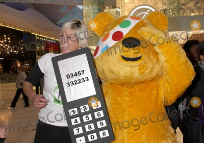 Pudsey Bear Photo - London, UK. Pudsey Bear at he Opening of Westfield Shopping centre in White City, London. 30th October 2008.