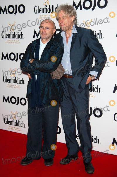 Bob Geldof, Phil Collins, Sir Bob Geldof Photo - London. UK. Phil Collins and Sir Bob Geldof at the Glenfiddich Mojo Honours List 2011, The Brewery, London, UK on 21st July 2011.Justin Ng/Landmark Media