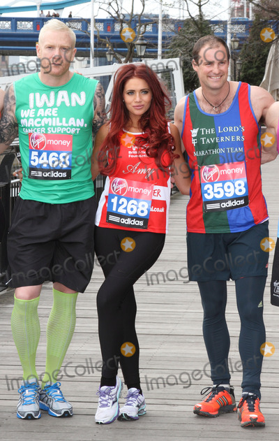Amy Childs, Andrew Strauss, Iwan Thomas Photo - London. UK.   Iwan Thomas, Amy Childs and Andrew Strauss  at the  London Marathon 2013 Celebrities Photocall outside the Tower Hotel, London. 17th April  2013Keith Mayhew/Landmark Media