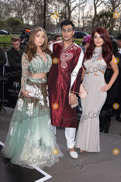 Junaid Ahmed, Abi Clarke, Jessica Hayes, Jessica Paré Photo - London, UK. Abi Clarke, Junaid Ahmed and Jessica Hayes at the Asian Awards 2016. Grosvenor House Hotel Park Lane. 8th April 2016. 