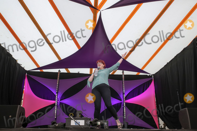 Angela Barnes Photo - Southwold, Suffolk. Comedian Angela Barnes, presenter of Radio 4s Newsjack and Mock the Week regular, performs in the Comedy Arena on the first day of the 2018 Latitude Festival  at Henham Park near Southwold, Suffolk. 13th July 2018