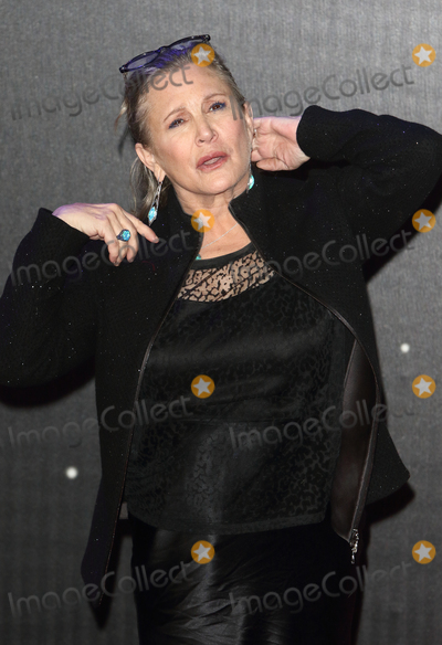 Carrie Fisher, Leicester Square Photo - London.UK. Carrie Fisher at the Star Wars: The Force Awakens - European Premiere at Leicester Square.  16th December 2015.Ref: LMK73-59062-171215Keith Mayhew/Landmark Media. WWW.LMKMEDIA.COM