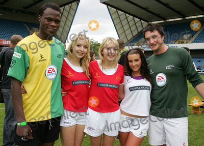 Amy Alexandra, Gallagher, Liam Gallagher Photo - London. UK. L-R. Brian Belo, Samantha and Amanda Marchant, Amy Alexandra  and Liam Gallagher  at the Music Industry 'Soccer Six' , held at Millwall FC's New Den ground in London. 18th May  2008. Keith Mayhew/Landmark Media
