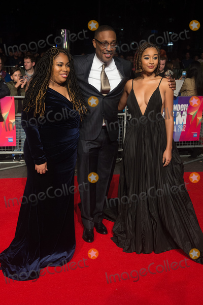 George Tillman, George Tillman Jr., George Tillman, Jr., The Specials, Amandla Stenberg, Angie Thomas, Leicester Square Photo - London. UK.  (L-R) - Author Angie Thomas, Director George Tillman Jr. and Amandla Stenberg   at  the Special Presentation and European Premiere of 'The Hate U Give'  at The 62nd BFI London Film Festival at Cineworld, Leicester Square, London, England, UK on Saturday 20 October 2018. Ref:  LMK370-S1696-211018Justin Ng/Landmark MediaWWW.LMKMEDIA.COM