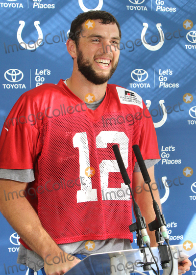 Andrew Luck, Jaguares, Wembley Stadium Photo - Watford. Herts. Andrew Luck  at the Indianapolis Colts Press Conference at The Grove Hotel, Chandlers Cross, Watford. ndianapolis are here to play in the latest NFL International Series game at Wembley Stadium vs Jacksonville Jaguars on Sunday October 2nd 2016. 30th September 2016. Ref: LMK73-61529-011016Keith Mayhew/Landmark Media WWW.LMKMEDIA.COM.