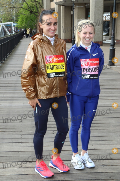 Charlotte Purdue, Lily Partridge Photo - London, UK. Lily Partridge and Charlotte Purdue at Elite Runners Photocall for the London Marathon 2019 outside the Tower Hotel Race HQ on April 24th 2019Ref: LMK73-4803-250419Keith Mayhew/Landmark MediaWWW.LMKMEDIA.COM