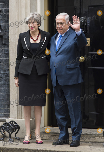 Benjamin Netanyahu, Theresa May, Gary Mitchell Photo - London, UK.  Britain's Prime Minister Theresa May greets the Prime Minister of Israel Benjamin Netanyahu in Downing Street on November 2, 2017 in London, England.Ref: LMK386-J1048-021117Gary Mitchell/Landmark MediaWWW.LMKMEDIA.COM