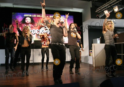 Shayne Ward, The Cast Photo - London. UK. Shayne Ward  and rest of the cast from Rock of Ages perform selection of songs at HMV, Oxford Street on September 16, 2011.