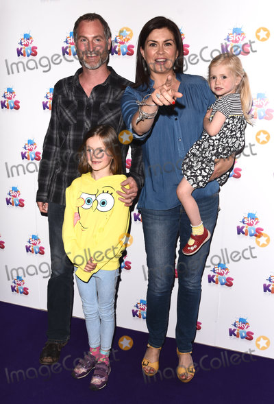 Amanda Lamb, Guines Photo - London, UK. Sean McGuinness, Amanda Lamb, Willow and Lottie  at The Sky Kids Cafe Launch Party held at The Vinyl Factory, Marshall Street, London on Sunday 29 May 2016. 