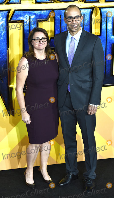 Nate Moore, Black Panther, Victoria Alonso Photo - London, UK Victoria Alonso and Nate Moore at The European Premiere of Black Panther held at Eventim Apollo, Hammersmith, London on Thursday 8 February 2018
