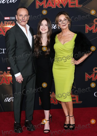 Clark Gregg, Jennifer Grey, Clarke Gregg Photo - HOLLYWOOD, LOS ANGELES, CA, USA - MARCH 04: Actor Clark Gregg, daughter Stella Gregg and wife Jennifer Grey arrive at the Los Angeles Premiere Of Marvel Studios 'Captain Marvel' held at the El Capitan Theatre on March 4, 2019 in Hollywood, Los Angeles, California, United States. (Photo by David Acosta/Image Press Agency)