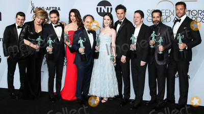 Brian Tarantina, Caroline Aaron, Kevin Pollak, Luke Kirby, Marin Hinkle, Tony Shalhoub, Zachary Levi, Michael Zegen, Rachel Brosnahan, Joel Johnstone Photo - LOS ANGELES, CA, USA - JANUARY 27: Joel Johnstone, Caroline Aaron, Michael Zegen, Marin Hinkle, Kevin Pollak, Rachel Brosnahan, Luke Kirby, Brian Tarantina, Tony Shalhoub and Zachary Levi pose in the press room at the 25th Annual Screen Actors Guild Awards held at The Shrine Auditorium on January 27, 2019 in Los Angeles, California, United States. (Photo by Xavier Collin/Image Press Agency)