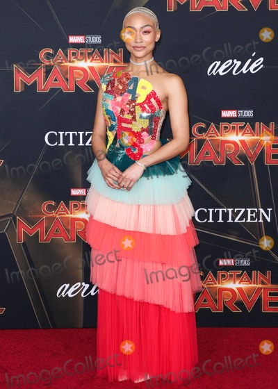 Tati Gabrielle Photo - HOLLYWOOD, LOS ANGELES, CA, USA - MARCH 04: Actress Tati Gabrielle wearing Elisabetta Franchi arrives at the Los Angeles Premiere Of Marvel Studios 'Captain Marvel' held at the El Capitan Theatre on March 4, 2019 in Hollywood, Los Angeles, California, United States. (Photo by David Acosta/Image Press Agency)