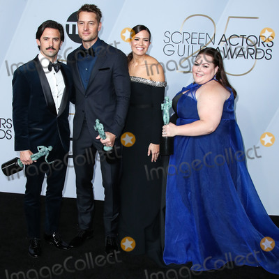 Mandy Moore, Milo Ventimiglia, Justin Hartley, Chrissy Metz Photo - LOS ANGELES, CA, USA - JANUARY 27: Milo Ventimiglia, Justin Hartley, Mandy Moore and Chrissy Metz pose in the press room at the 25th Annual Screen Actors Guild Awards held at The Shrine Auditorium on January 27, 2019 in Los Angeles, California, United States. (Photo by Xavier Collin/Image Press Agency)