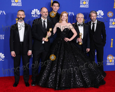Alan Ruck, Brian Cox, Nicholas Braun, Ruck, Sarah Snook, JEREMY STRONG, Jesse Armstrong Photo - BEVERLY HILLS, LOS ANGELES, CALIFORNIA, USA - JANUARY 05: Jeremy Strong, Jesse Armstrong, Nicholas Braun, Sarah Snook, Brian Cox and Alan Ruck pose in the press room at the 77th Annual Golden Globe Awards held at The Beverly Hilton Hotel on January 5, 2020 in Beverly Hills, Los Angeles, California, United States. (Photo by Xavier Collin/Image Press Agency)