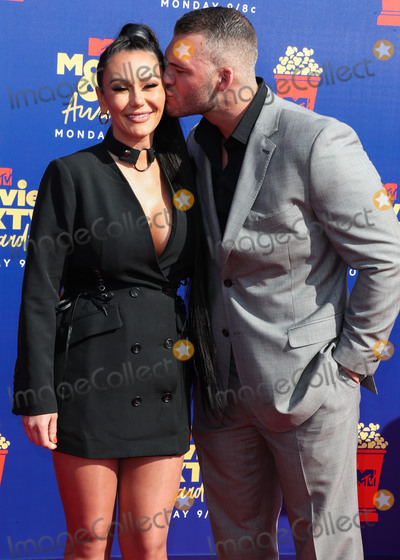 """Jenni """"JWoww"""", Jenni """"JWoww"""" Farley, Jenni 'JWoww', Jenni 'JWoww' Farley, Jenni JWoww, Jenni JWOWW Farley, JWoww, Jenni """"JWoww"""", Jenni """"JWoww"""" Farley Photo - SANTA MONICA, LOS ANGELES, CALIFORNIA, USA - JUNE 15: Jenni JWoww Farley and Zack Clayton Carpinello arrive at the 2019 MTV Movie And TV Awards held at Barker Hangar on June 15, 2019 in Santa Monica, Los Angeles, California, United States. (Photo by Xavier Collin/Image Press Agency)"""