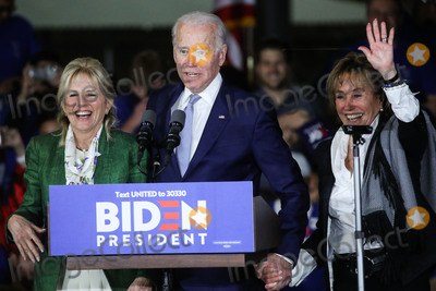 Jill Biden, Joe Biden, Vice President Joe Biden Photo - BALDWIN HILLS, LOS ANGELES, CALIFORNIA, USA - MARCH 03: Former Vice President Joe Biden, 2020 Democratic presidential candidate, speaks while his wife Jill Biden, left, and sister Valerie Biden, right, stand during the Jill and Joe Biden 2020 Super Tuesday Los Angeles Rally held at the Baldwin Hills Recreation Center on March 3, 2020 in Baldwin Hills, Los Angeles, California, United States. (Photo by Xavier Collin/Image Press Agency)
