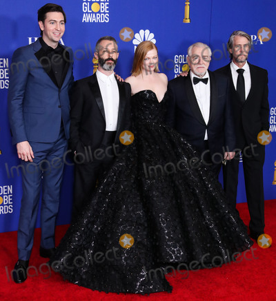 Alan Ruck, Brian Cox, Ruck, Sarah Snook, JEREMY STRONG Photo - BEVERLY HILLS, LOS ANGELES, CALIFORNIA, USA - JANUARY 05: Nicholas Braum, Jeremy Strong, Sarah Snook, Brian Cox and Alan Ruck pose in the press room at the 77th Annual Golden Globe Awards held at The Beverly Hilton Hotel on January 5, 2020 in Beverly Hills, Los Angeles, California, United States. (Photo by Xavier Collin/Image Press Agency)