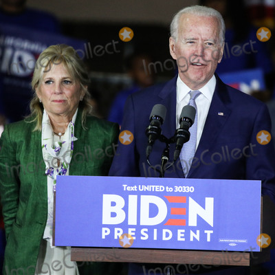 Jill Biden, Joe Biden, Vice President Joe Biden Photo - BALDWIN HILLS, LOS ANGELES, CALIFORNIA, USA - MARCH 03: Former Vice President Joe Biden, 2020 Democratic presidential candidate, speaks while his wife Jill Biden, left, stands during the Jill and Joe Biden 2020 Super Tuesday Los Angeles Rally held at the Baldwin Hills Recreation Center on March 3, 2020 in Baldwin Hills, Los Angeles, California, United States. (Photo by Xavier Collin/Image Press Agency)