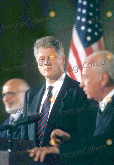 Bill Clinton, Yitzhak Rabin Photo - Bill Clinton with King Hussein of Jordan and Yitzhak Rabin of Israel Holding Press Conference 7/26/1994 #16863 Photo by James Colburn/ipol/Globe Photos, Inc.