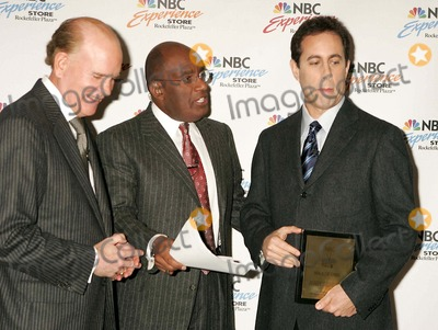 """Al Roker, Bob Wright, Jerry Seinfeld Photo - Jerry Seinfeld Inducted Into Nbc's """" Walk of Fame """" at the NBC Experience Store in New York City 11-22-2004 Photo By:rick Mackler-rangefinders-Globe Photos, Inc 2004 Bob Wright, AL Roker and Jerry Seinfeld"""