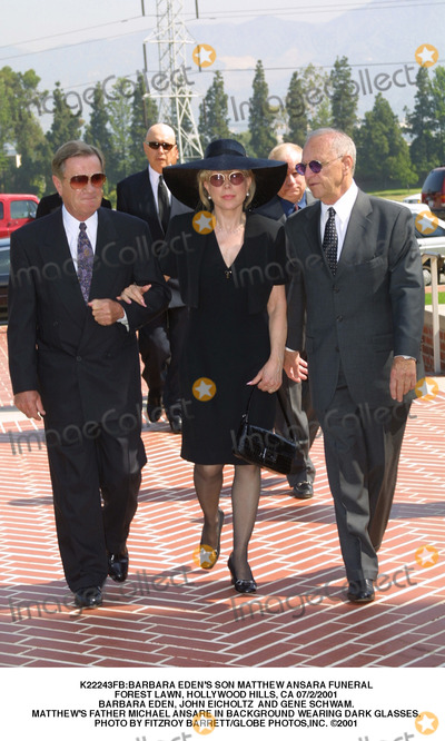 Barbara Eden, John Eicholtz Photo - :barbara Eden's Son Matthew Ansara Funeral Forest Lawn, Hollywood Hills, CA 07/2/2001 Barbara Eden, John Eicholtz and Gene Schwam. Matthew's Father Michael Ansare in Background Wearing Dark Glasses. Photo by Fitzroy Barrett/Globe Photos,inc.