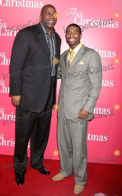 "Andre Johnson, Earvin ""Magic"" Johnson, Earvin 'Magic' Johnson, Earvin Magic Johnson, Magic Johnson, ""Magic"" Johnson Photo - ""This Christmas"" World Premiere the Cinerama Dome, Hollywood, CA 11-12-2007 Earvin ""Magic"" Johnson and Son Andre Johnson Photo: Clinton H. Wallace-photomundo-Globe Photos Inc"