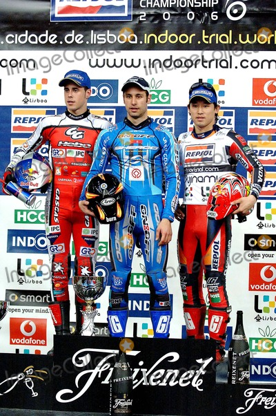 Adam Raga, Albert Cabestany, Takahisa Fujinami Photo - K4695820060225: LISBOA, PORTUGAL - Lisbon receives for the 7th time the World Championship of Trial Indoor at Pavilhao Atlantico. In Picture:1- Albert CABESTANY, 2- Adam RAGA and 3- Takahisa FUJINAMI. In Picture: Albert CABESTANY, Adam RAGA and Takahisa FUJINAMIPHOTO: Alvaro Isidoro/CITYFILES/GLOBE PHOTOS INC