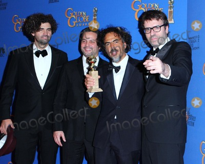 Alejandro Gonzalez Inarritu, Armando Bo, Alexander Dinelaris Photo - (l-r) Writer Armando Bo, Writer Alexander Dinelaris, Writer/director Alejandro Gonzalez Inarritu and Writer Nicolas Giacobone Pose in the Press Room During the 72nd Annual Golden Globe Awards Held at the Beverly Hilton Hotel on January 11, 2015 in Beverly Hills,california. Usa.photo:leopold/Globephotos