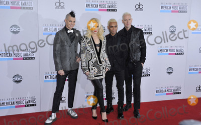 Adrian Young, Gwen Stefani, No Doubt, Tony Kanal, Adrian Younge Photo - Adrian Young, Gwen Stefani, Tony Kanal, Tom Dumant (No Doubt) attending the 40th Anniversary American Music Awards- Arrivals Held at the Nokia Theatre in Los Angeles, California on November 18 2012 Photo by: D. Long- Globe Photos Inc.