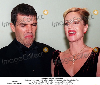 "Antonio Banderas, Melanie Griffith, Melanie Griffiths, Leicester Square Photo - 10/12/98 London Antonio Banderas Pulls a Face As He and Actress Wife Melanie Griffith, Arrive at the British Charity Premiere of His New Film ""the Mask of Zorro"" at the Odeon Leicester Square, London."