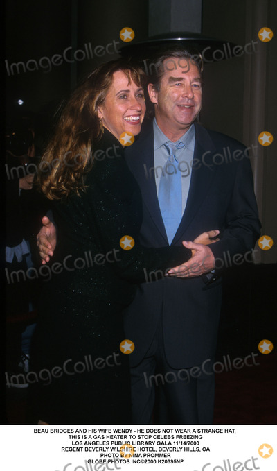Beau Bridges Photo - Beau Bridges and His Wife Wendy - He Does Not Wear a Strange Hat, This Is a Gas Heater to Stop Celebs Freezing Los Angeles Public Library Gala 11/14/2000 Regent Beverly Wilshire Hotel, Beverly Hills, CA Photo by Nina Prommer Globe Photos Inc2000