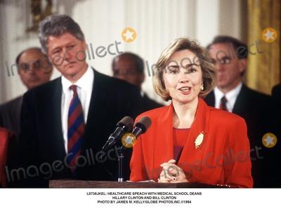 Hillary Clinton, Bill Clinton Photo - : Healthcare Speach with Medical School Deans Hillary Clinton and Bill Clinton Photo by James M. Kelly/Globe Photos,inc.