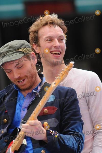 "Coldplay, Chris Martin, Jonny Buckland Photo - Coldplay Performs on NBC "" Today Show "" Summer Concert Series at Rockfeller Plaza, New York City 06-27-2008 Photo by Ken Babolcsay-Globe Photos, Inc. Jonny Buckland and Chris Martin"