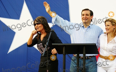 Sarah Palin, Ted Cruz, Heidi Cruz Photo - Candidate Ted Cruz Speaks to a Crowd of About 1000 Supporters at a Campaign Event at Town Creek Park in the Woodlands ,Texas on 07/27/2012.l-r)sarah Palin,ted Cruz,heidi Cruz Photo by Jeff Newman-Globe Photos-Globe Photos, Inc.