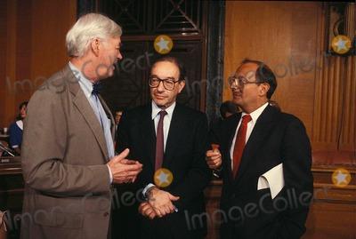Alan Greenspan, Al D'Amato, PAT MOYNIHAN Photo - Alan Greenspan with AL D'amato and Pat Moynihan 7-21-1987 #14594 Photo by James Colburn-ipol-Globe Photos, Inc.
