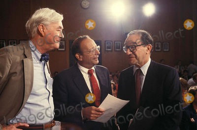 Alan Greenspan, Al D'Amato, PAT MOYNIHAN Photo - Alan Greenspan with AL D'amato and Pat Moynihan 7-21-1987 #14594 Photo by James Colburn-ipol-Globe Photos, Inc.