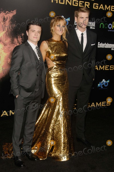 "Jennifer Lawrence, Josh Hutcherson, Liam Hemsworth Photo - Josh Hutcherson, Jennifer Lawrence, Liam Hemsworth attending the Los Angeles Premiere of ""the Hunger Games"" Held at the Nokia Theatre L.A. Live in Los Angeles, California on 3/12/12 Photo by: D. Long- Globe Photos Inc."