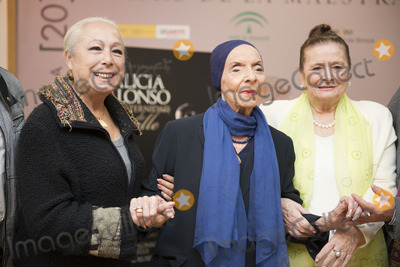 Cristina Hoyos, Gisele, Giselle, Alicia Alonso Photo - SEVILLE, SPAIN, November 4: Cristina Hoyos, Alicia Alonso and Matilde Corral (L-R) attends the presentation of the book, -Alicia Alonso or eternity of Giselle- of the writer Giselle Mayda Bustamante in the theater La Maestranza in Seville, Spain.